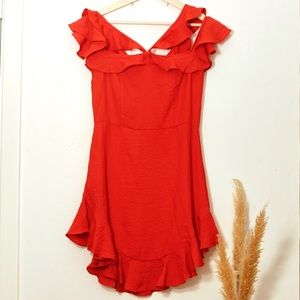Symphony Ruffle Red Dress